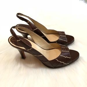 Cole Haan Size 9.5 Brown Leather Slingback Heels